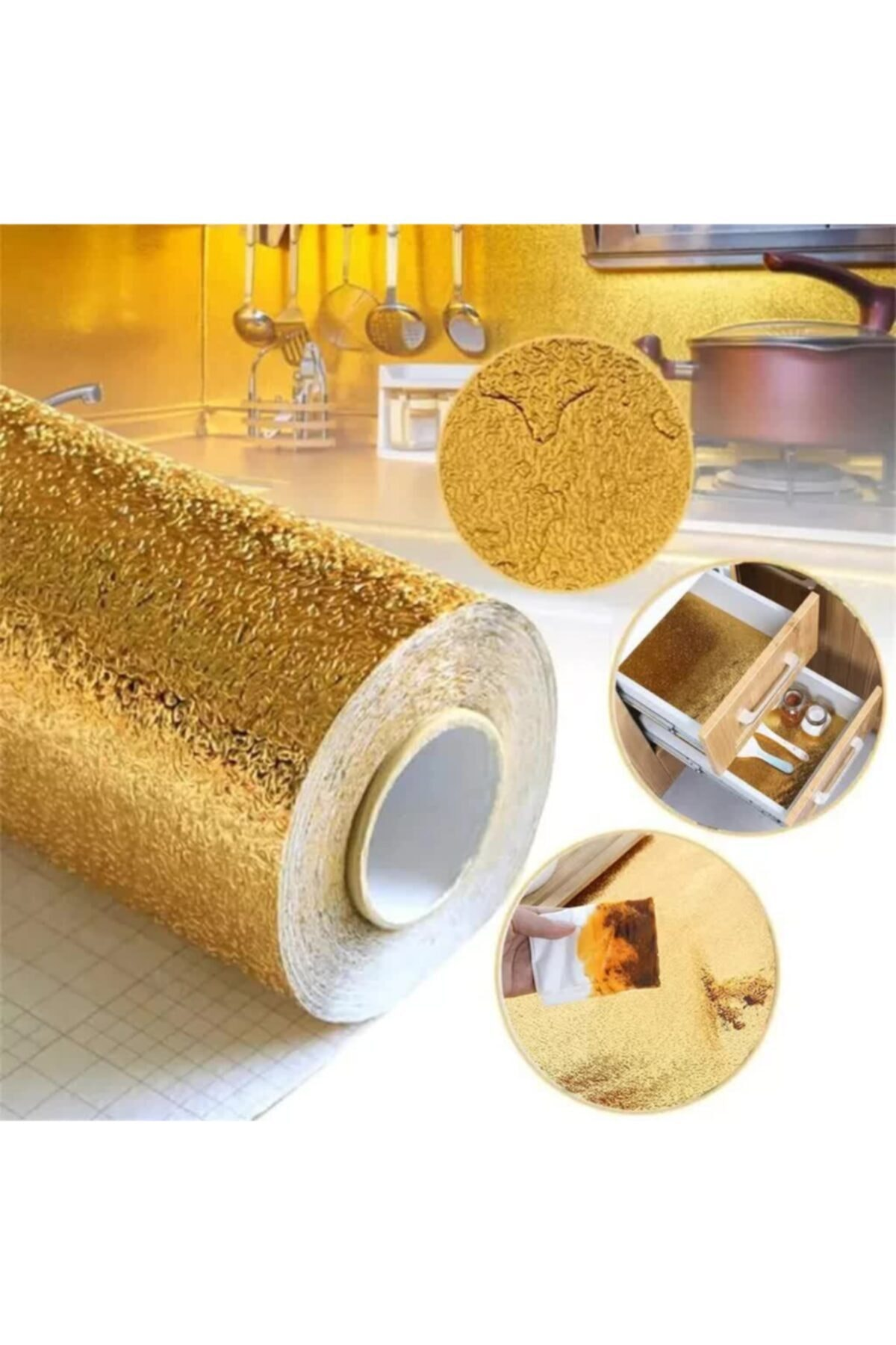 Kyrotech Self Adhesive Foil Aluminum Foil Self Adhesive Drawer Wall Cladding Gold Color 100 X 40cm