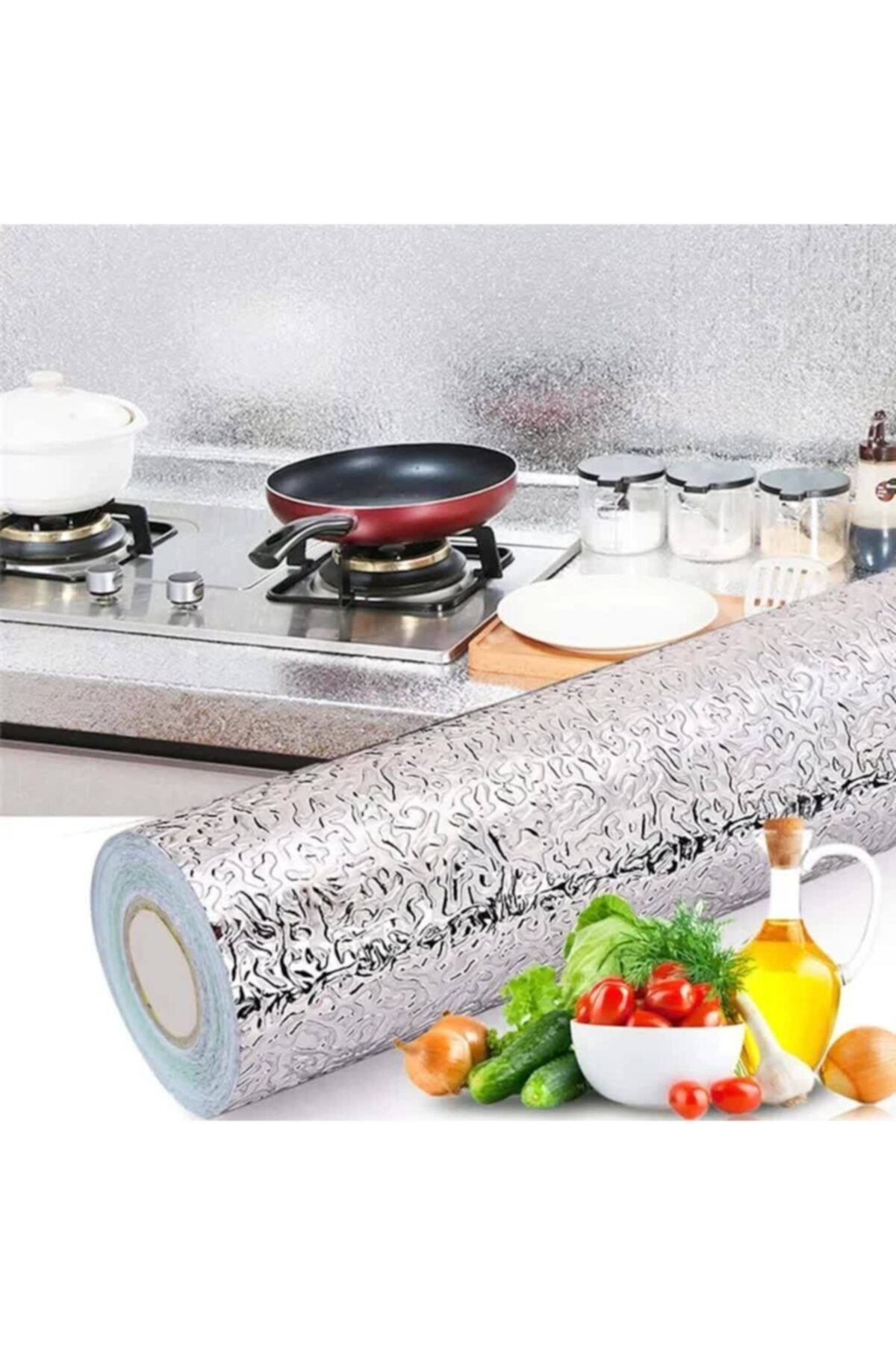 Self Adhesive Foil Aluminum Foil Self Adhesive Drawer Wall Cladding Silver Color 300 X 40cm