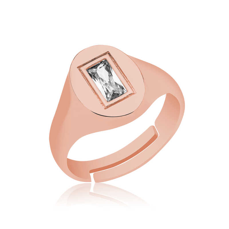 A luxurious ring inlaid with a rose diamond stone - 925 silver