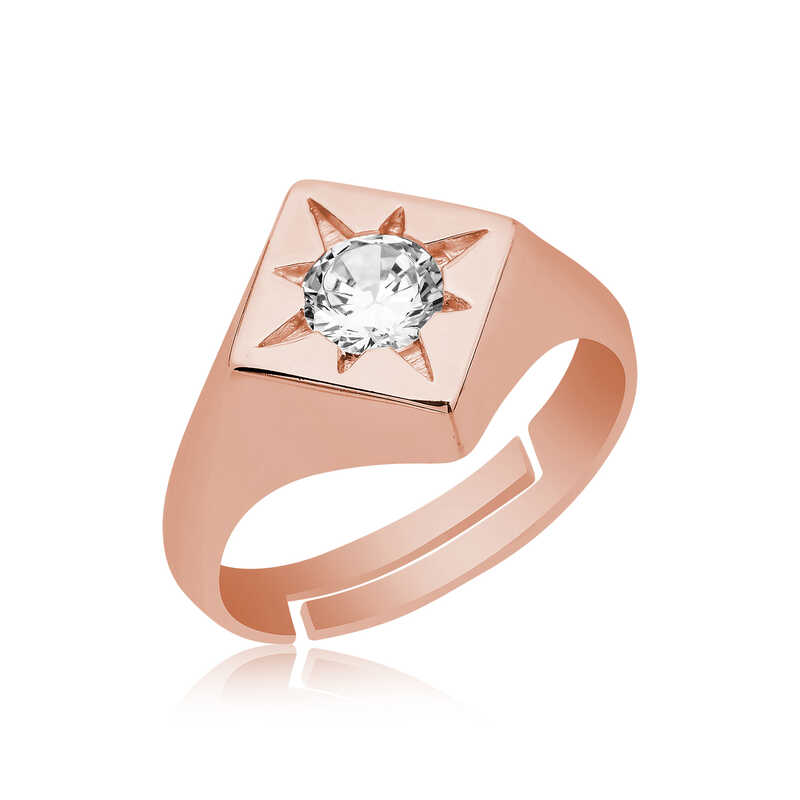 A luxurious design ring, inlaid with a diamond stone - 925 silver