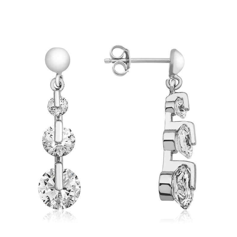 3 Earrings Studded with Tria Stones - 925 Silver