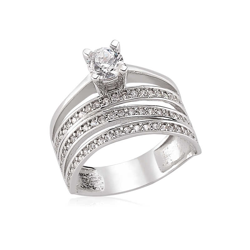 3 row women's ring one stone - 925 silver